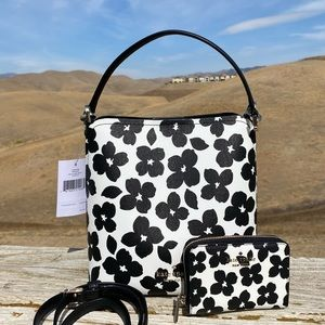 🎀SET Kate Spade Darcy Graphic Blooms small bucket with wallet